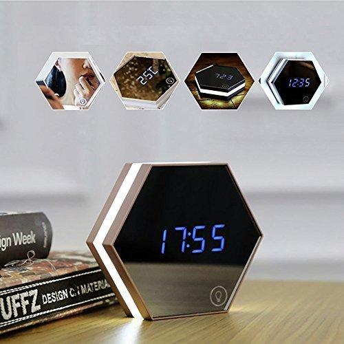PowerLead, tragbarer Spiegel-Wecker mit Nachtlicht, wiederaufladbar, Digital-Wecker, LED-Tischleuchte, Reisewecker Clock Radio Ipod Dock