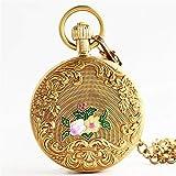 SEMEI Männer Frauen Quarz Taschenuhr Alice im Wunderland Blumen Fall Vintage Uhren mit Geschenkbox