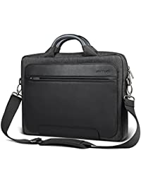 "Inateck Man Shoulder Bag, 14-14.1 Inch Laptop Bag for 15"" 2018/2017/2016 MacBook Pro and Up to 14.1 Inch Laptop Ultrabook, PU Leather Water-resistant Briefcase Handbag with Metal Handle, Luggage Strap - Black"