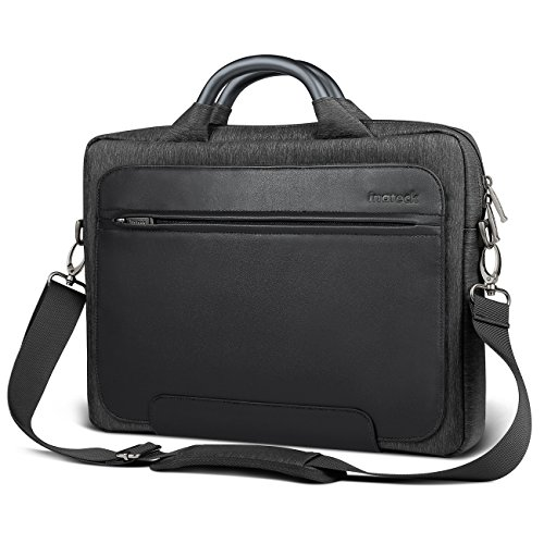 """Inateck Man Shoulder Bag, 14-14.1 Inch Laptop Bag Compatible 15"""" 2018/2017/2016 MacBook Pro Up to 14.1 Inch Laptop PU Water-resistant Briefcase with Metal Handle- Black"""