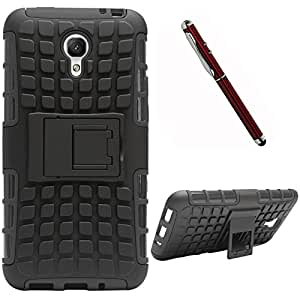 DMG Dual Hybrid Hard Grip Rugged Kickstand Armor Case for Meizu M1 Note (Black) + 4in1 Laser Torch Stylus Pen