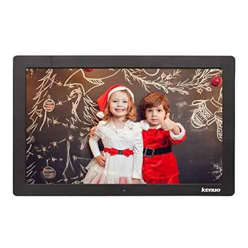 Digitaler Bilderrahmen, Elektronischer Fotorahmen 13.3 Zoll Full HD 1080P Display mit Kalender/Alarm/Foto/Musik/Video Player/Auto on/Off Timer mit Fernbedienung, Schwarz