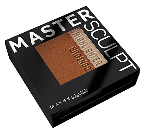 Maybelline New York Master Sculpt Kontur-Duo-Puder Medium Dark/ Puder in hellem und mittlerem Braun zum Konturieren und Highlighten des Gesichts, inkl. Spezialpinsel (1 x 9 g)