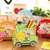 #5: Gold Leaf Colorful Wooden Car Design Pen Stand with Photo Frame and Clip Return Gift Set Of 12