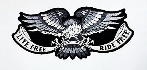 Ride gratis Eagle Silber & Weiß auf Schwarz Center Patch Sew Iron on gesticktes Badge Schild Kostüm (Kostüme Center)