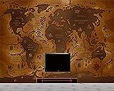 BZDHWWH Große Benutzerdefinierte 3D Wallpaper Wandbild Super High Definition Vintage Weltkarte Hintergrund Foto Tapete Papier Peint,200cm (H) x 300cm (W)