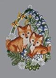 """Fensterbild """"Kleine Füchse"""" aus Plauener Spitze® 20 x 30 cm"""
