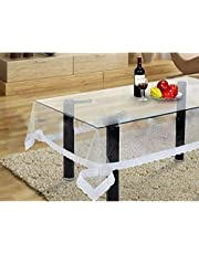 Kuber Industries™ .20 mm Transparent Center Table Cover 4 Seater 40 * 60 Inches (White Lace) DTC10