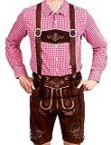 Bayerische Herren Trachten Lederhose Kurz, Trachtenlederhose mit Trägern, Original in Dunkelbraun, Oktoberfest, Größe 60