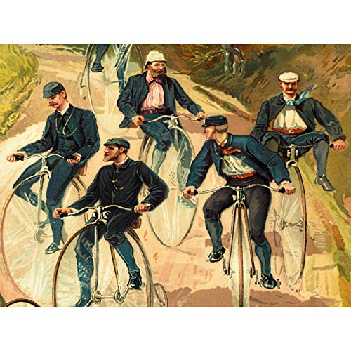 UNIFORMED MEN RIDING PENNY FARTHING BICYCLE COUNTRY LANE ART PRINT POSTER CC1013 Country Lane
