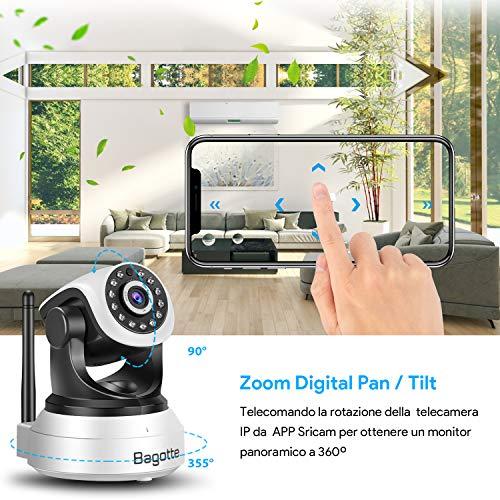 Bagotte HD 720P Telecamera Sorveglianza Wifi Interno, Videocamera IP Wireless Camera, Visione Notturna a Infrarossi , Audio Bidirezionale, Sensore di Movimento Pan/Tilt, Compatibile con iOS & Android - 7