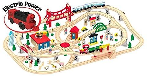 Jeu de train en bois 130 piéces Circuit de Train + locomotive électrique Jeu de Construction