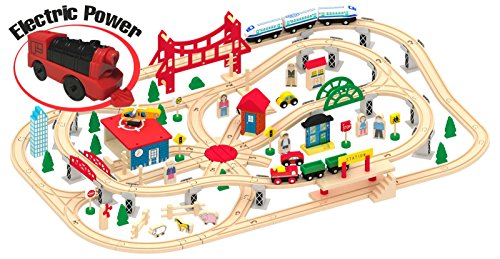 LEOMARK Holzeisenbahn Für Kinder Mit 130 Teilig Spielzeugeisenbahn Zug Komplett Set Holz Zubehör Brücke Zug Autos Elektrische Lokomotive