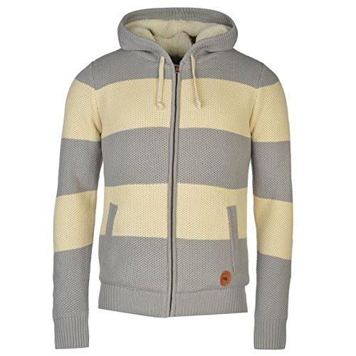 Soulcal righe a maglia con cappuccio grigio/crema maglione pullover top, Grey/Cream, S