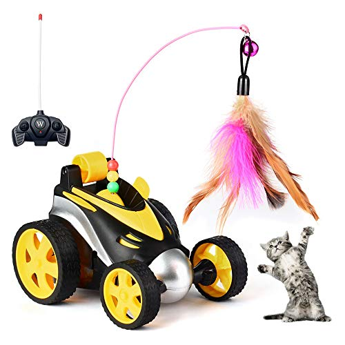 Jewaytec Fernbedienung Katze Feder Spielzeug, interaktive Roboter lustige Spielzeugauto für Katze, automatische Chaser Streich Spielzeug für Kätzchen, lustige Haustier Spielzeug (Keine Batterie)