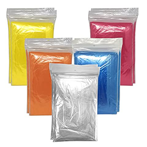 10 x Emergency Poncho Rain Capes with Hood, Waterproof, Assorted Colours