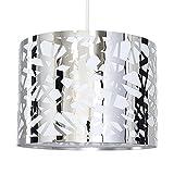 MiniSun – Moderner und runder Lampenschirm mit einem polierten verchromten Finish und einem Gitterdesign aus Metall – für Hänge- und Pendelleuchte