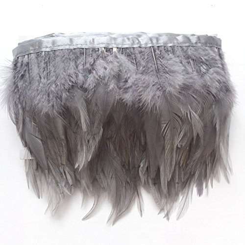 Sowder Feder-Fransen-Borte mit gefärbten Hahnenfedern, für Kostüm, Deko, Kleidung, Packung mit 4,57 m grau