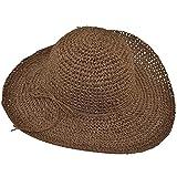 Vococal® Damen Faltbare Breite Großer Krempe Strand Stroh Sonnenhüte Reise Schlapphüte Strohhüte Cap, Kaffee