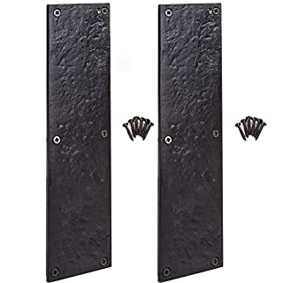 Pair of Black Antique Cast Iron Door Finger Push Plates 11.5