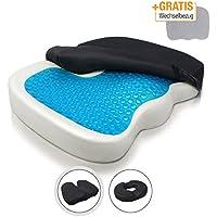 Amazy Cojín de asiento ortopédico - con funda de repuesto + bolsa de transporte – cojín con capa de gel para aliviar la presión y el dolor en caso de ...