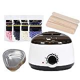 Beauty AGL Kit épilation Chauffe-Cire (Warm Réchauffeur de Cire + 4 Haricots cires dures à la saveur différente + 10 bâtons applicateurs de Cire + 5 cuvettes en Papier d'aluminium)