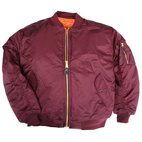 classic-ma-1-flight-jacket-us-pilot-bomber-mens-airforce-biker-security-maroon-2xlarge
