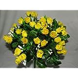 A1-Homes - Mazzo di 60 rose finte decorative, in seta, colore: giallo