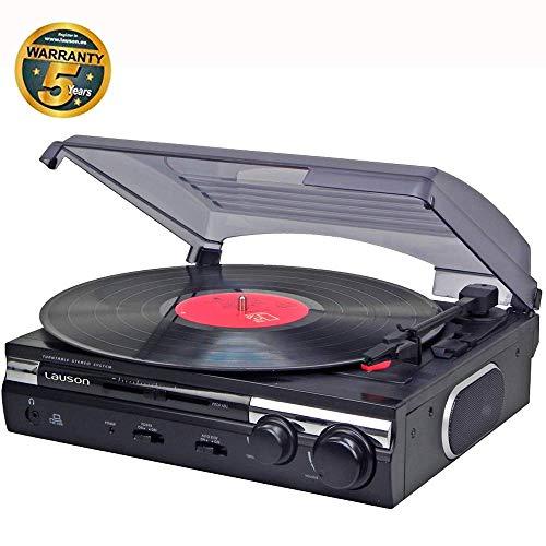 Tocadisco Lauson Función de Grabación Encoding PC-Link   Tocadiscos de Vinilo Vintage con Altavoces Incorporados   Reproductor de Vinilo con 2 Velocidades (33/45 RPM) (Negro)