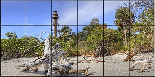 Sanibel Bad (Fliesenwandbild - Sanibel Leuchtturm - von Sean Allen - Küche Aufkantung / Bad Dusche)