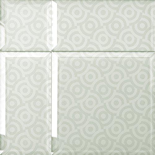 Alfa de CER 5902027023336 bisselglas Verre Carrelage avec Bord Oblique, Verre Blanc métallisé, 29,8 x 29,8 cm