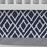 Lambs & Ivy Jensen Collection Dust Ruffle, Navy Triangle