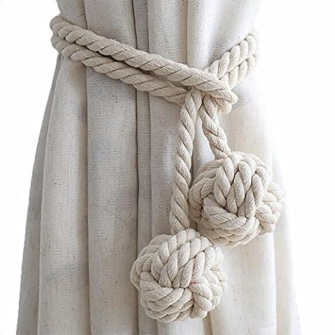 Une paire (2 articles) d'embrasses de rideau en corde tressée de coton Boucle avec deux balles en nœud, creamy-white, 2 pièces