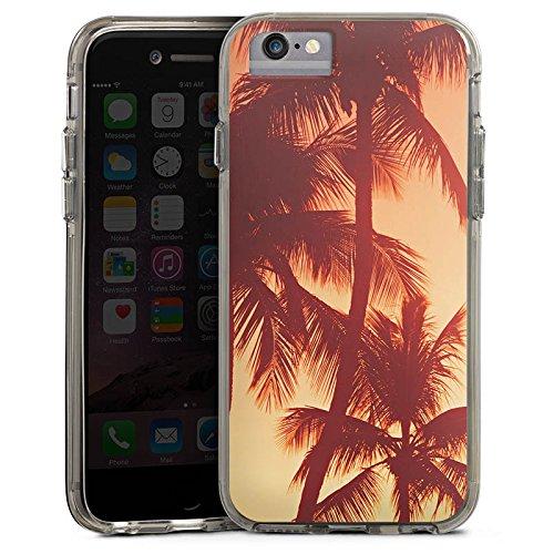 Apple iPhone 6 Bumper Hülle Bumper Case Glitzer Hülle Palmen Abendrot Urlaub Bumper Case transparent grau