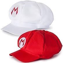 Katara - Gorra para disfraz de Super Mario Bros (2 unidades), color blanco y rojo