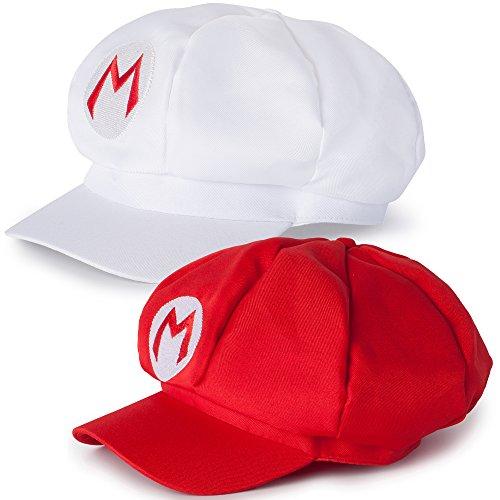 Mario 2er Set Mützen Caps, Kostüm Verkleidung Fasching Karneval Halloween Erwachsene, Rot Weiß ()