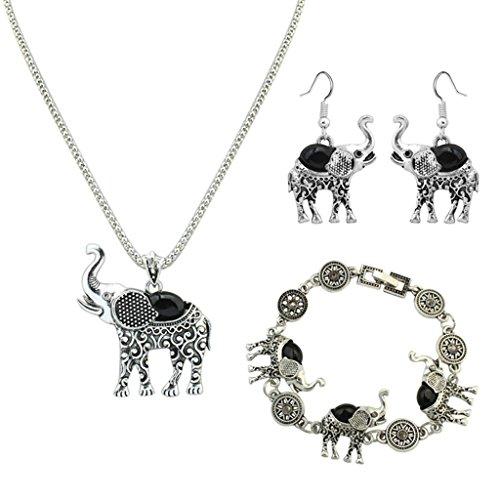 Gnzoe Schmuck Damen Schmuck-Set Bracelet Böhmischen Stil Ohrringe Halskette Set Retro Muster Elefant Kristall (Kostüme Diy Teufel)
