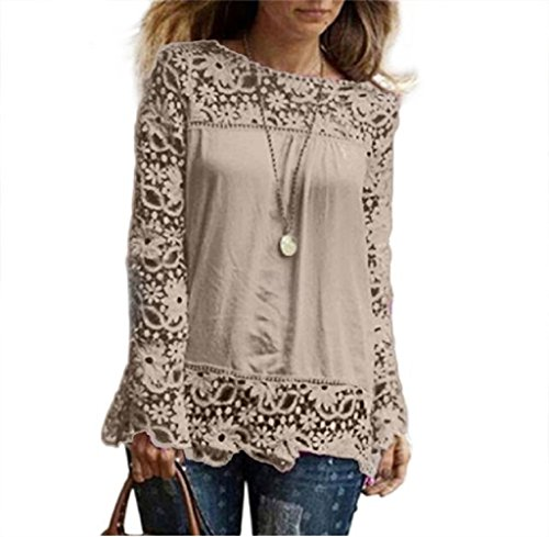 Frauen T-Shirt lmmvp Fashion Damen Long Sleeve Shirt Casual Lace Bluse lose Baumwolle Tops,khaki,L (Halter Top Knit Muster)