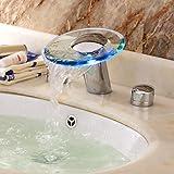 LED Wasserfall zwei Griffe Wasserkraft Glas Waschbecken Wasserhahn Chrom-Finish