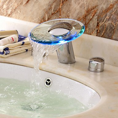 LED Armaturen LED Waterfall Two Handles Water Power Glass Bathroom Sink Tap Chrome Finish