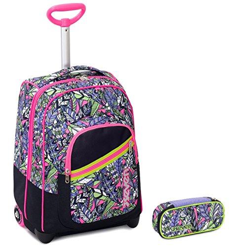 Seven trolley bambina portapenne - viola nero rosa - spallacci a scomparsa! zaino 35 lt scuola e viaggio - idea regalo natale