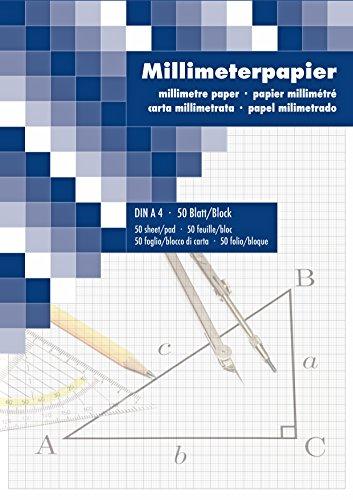 Papel milimetrado Bloc de dibujo dibujo técnico 50hojas DIN A42ér Pack