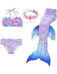 DAXIANG Fille 3pcs Nageoire de Sirene Maillots de bain Mermaid avec Ailerons Bikini Ensembles