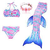 DAXIANG Fille 4pcs Nageoire de Sirene Maillots de Bain Mermaid avec Ailerons Bikini...
