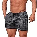 OSYARD Männer Sport Fitness Jogging Elastische Stretchy Bodybuilding MuscleBermuda Breites Bein Jogginghose(3XL, Schwarz)