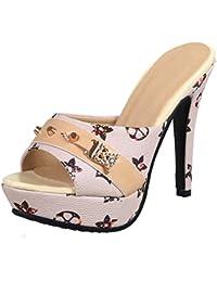 SHOWHOW Damen Strass Geschlossen Pantoffeln High Heels Sandalen Gelb 39 EU