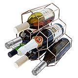 YSYDE Weinregal Rotgold für 6 Flaschen Tischplatte, mit freistehendem Display des Weinregals, ideal für Küchenbar-Tische, die genauso attraktiv Aussehen