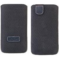 Original Bugatti Perfect Scale ( Größe XL ) Ocean Blau Echtleder Vertical Tasche Hülle mit Easyreleasetechnik Bulk-Pack geeignet für Apple iPhone SE
