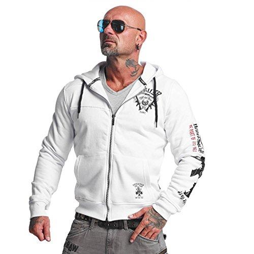 Yakuza Original Herren Armed Society Zip Hoodie Kapuzenjacke Weiß