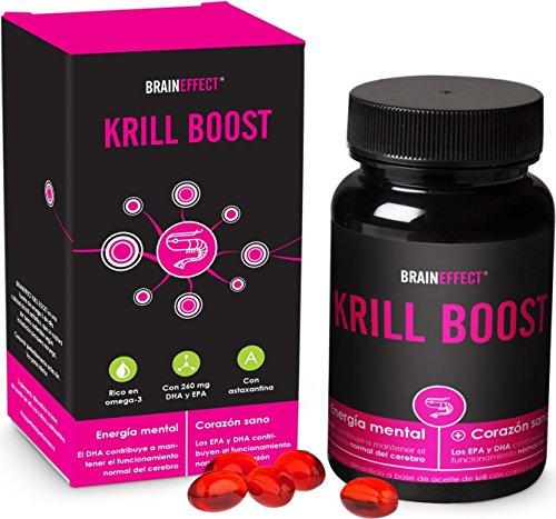 BRAINEFFECT KRILL BOOST | 1180mg por porción | 60 cápsulas | Omega 3 rico en EPA, DHA y astaxantina |...